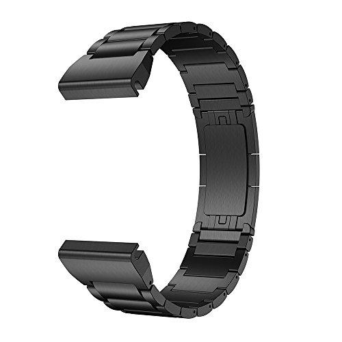 LDFAS Fenix 5X Plus Band, Classic Titanium Metal Quick Release Easy Fit 26mm Watch Straps for Garmin Fenix 5X/5X Plus/3/3HR Smartwatch, Black by LDFAS