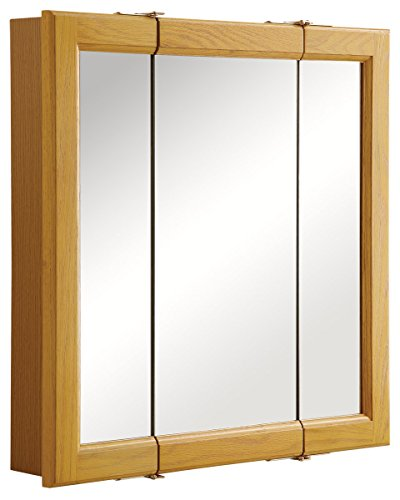 Oak Standard Cabinet - Design House 545277 Claremont Honey Oak Tri-View Medicine Cabinet Mirror with 3-Doors, 24-Inches by 24-Inches