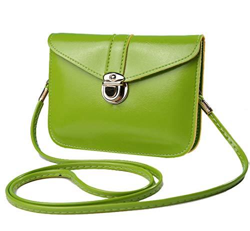 edfamily Women Girls Mini Handbags Leather Crossbody Single Shoulder Bag Cellphone Pouch Purse Wallet(Apple Green)