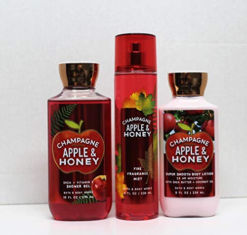 Bath and Body Works - Champagne Apple & Honey - Shower Gel, Body Lotion, Fine Fragrance Mist Daily Trio Summer 2018 ()