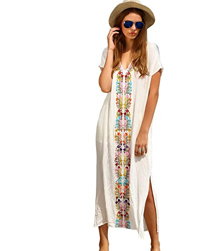 Jeasona Women's V-Neck Embroidered Maxi Long Beach Dress Swimsuit Cover Up