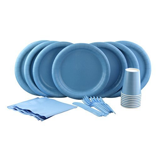 Party Lovers Premium Party Supplies Disposable Dinnerware Set - 20pc Includes Light Blue Dinner Plates, Cutlery, Tablecloth Napkins and Cups - Birthday Paper Tableware (Blue Christening Napkin)