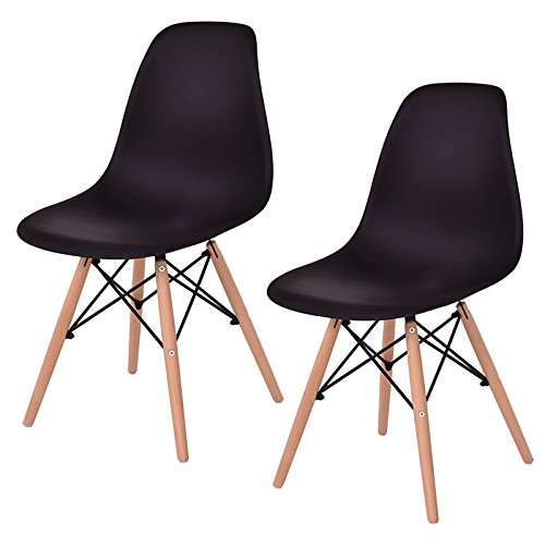 Set of 2 New Contemporary Mid Century Modern Ergonomic Back Design Dining Side Chair Beech wood Legs Black #815