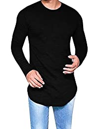 Mens Hipster Slim Fit Long Sleeve Stretchy T Shirt Solid Pullover Tops
