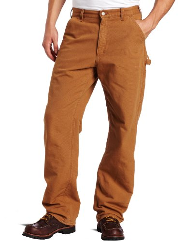Carhartt Men's Washed Duck Work Dungaree Flannel Lined, Brown,38 x 30