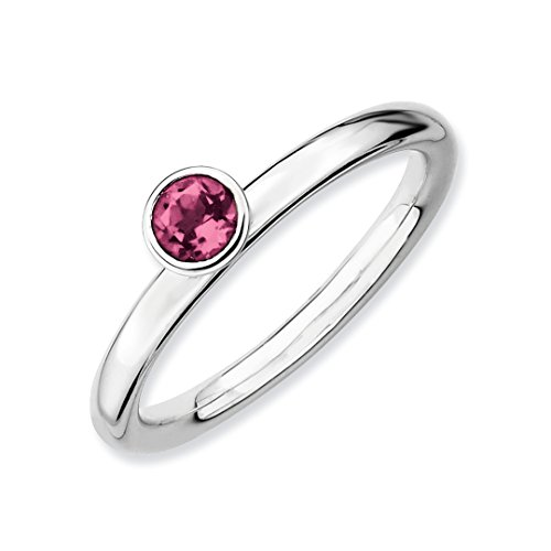 Pink Sapphire Tourmaline Ring - ICE CARATS 925 Sterling Silver High 4mm Round Pink Tourmaline Band Ring Size 5.00 Stone Stackable Gemstone Birthstone October/pink Tour/creat P Sapphire Fine Jewelry Ideal Gifts For Women Gift Set