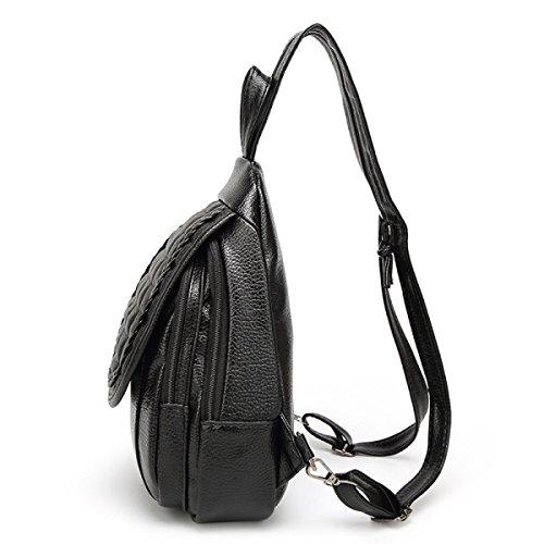 Jungen Und Mädchen Modetrend Des Beiläufigen PU-Leder Rucksack Im Freien Brust Pack