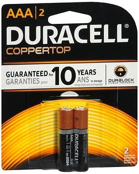Duracell MN2400B2Z AAA Size Alkaline General Purpose Battery 2 AAA Carded Batteries