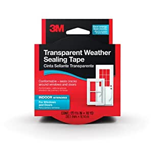 3M Interior Transparent Weather Sealing Tape, 1.5-Inch by 10-Yard