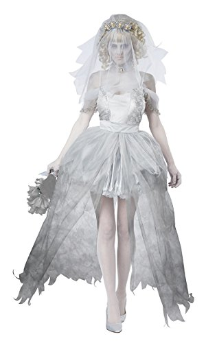 Fashionclub Halloween Women Ghostly Bride Cosplay Costumes Dress (XL)