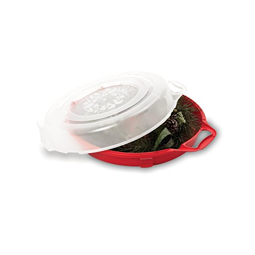 "Homz Holiday Wreath Plastic Storage Box, Up to 24"", Red with Clear Lid, 6-Pack"