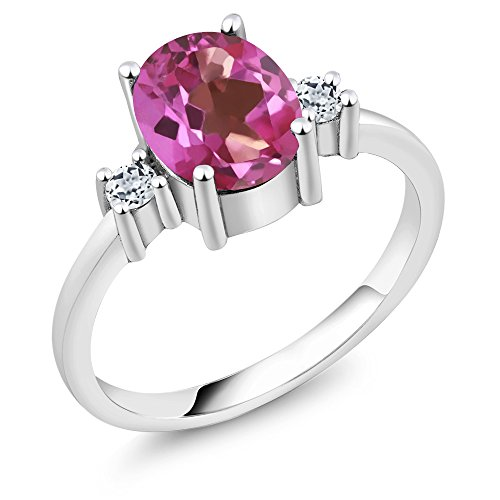 Pink Topaz Ring - Sterling Silver Oval Pink Mystic Topaz & White Topaz Women's 3-Stone Ring 2.46 cttw (Size 8)