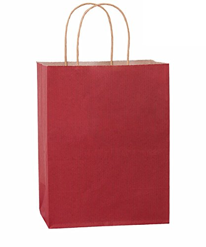 Shopping Bags 8x4.75x10.5 25Pcs BagDream Gift Bags,Cub, Paper Bags, Kraft Bags, Retail Bags, Red Stripes Paper Bags with Handles, 100% Recyclable Paper by BagDream