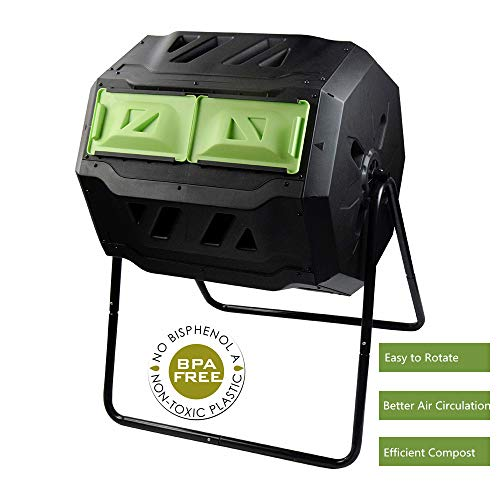 Large Compost Tumbler Bin -Outdoor Garden Rotating-Dual Compartment – Better Air Circulation Efficient Compost- BPA Free-Sturdy Steel Frame – 43Gallon (2-21.5Gal)- Green Door