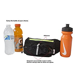 Premium Running/Walking Hydration Belt and Waist Pack, Fanny Pack. Fits any water bottle with space for smartphone, keys and cards