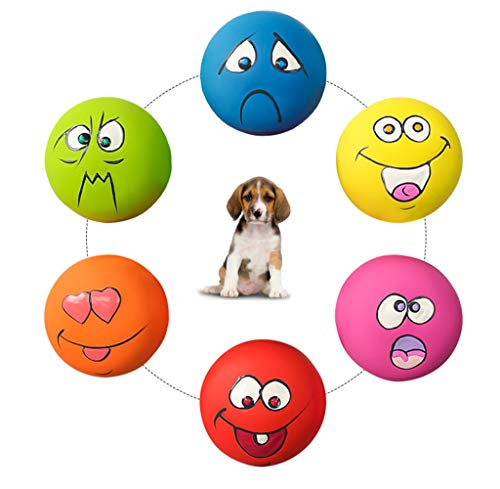 HDSX Smile Face Dog Squeaky Toys Soft Latex Squeak Balls for Puppy Small Medium Pet Dogs 6 Pcs/Set