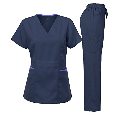 Medical Uniform Women's Scrubs Set Stretch Contrast Pocket Navy&Ceil Blue XXL
