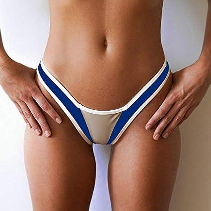 13085da16cd Women's Stitching Swim Trunks on Both Sides wear Summer Low Waist Ladies  Beach Thong Fashion Bikini Bottoms Biquini Mujer #YL :, M: Amazon.in:  Sports, ...