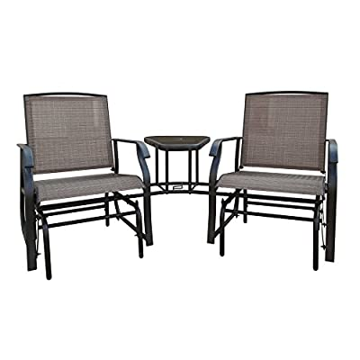 DDI 908958-15 Tete-a-Tete Textilene Glider - The Two Connected Seats Glide Independently The Angled Seating Arrangement Allows for Easy Conversation Durable Metal Construction Prevents Damage - patio-furniture, patio-chairs, patio - 41Ho1vas8wL. SS400  -