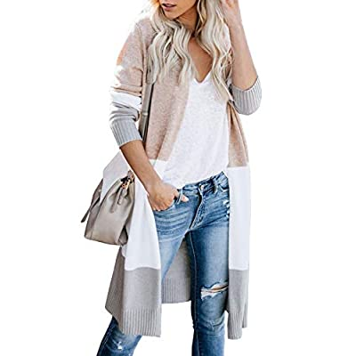 Tutorutor Womens Boho Long Cardigan Sweaters Lightweight Striped Color Block Loose Knit Kimono Duster Coat Cover Up at Women's Clothing store