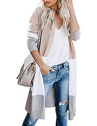 Lovaru Womens Boho Open Front Cardigan Colorblock Long Sleeve Loose Knit Lightweight Sweaters