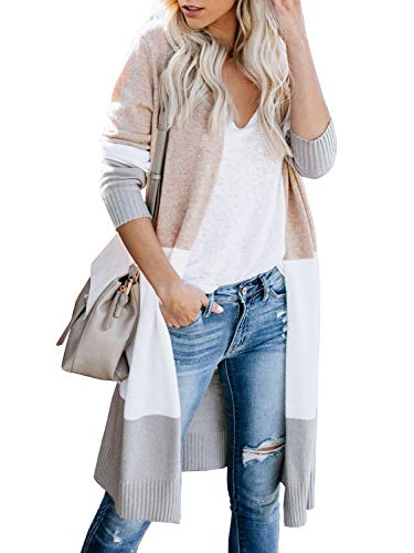 Yacooh Womens Open Front Long Cardigan Boho Colorblock Long Sleeve Knit Lightweight Kimono Sweater Duster Coats Khaki