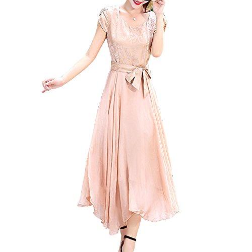 Linie Abendkleid Gold S68096 Midi Damen girl Kleider Seide Kleid E Übergröße A Einfarbig xPRnYx1H
