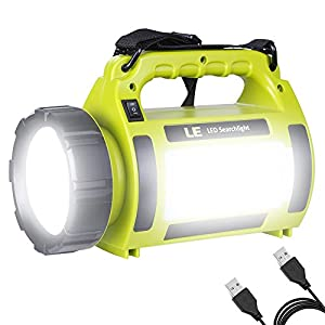 LE Rechargeable Camping Lantern, 1000 Lumen CREE LED Torch, 5 Modes Outdoor Searchlight with 3600mAh Power Bank, Water Resistant Work Light for Hiking, Fishing, Power Cuts, Emergency and More