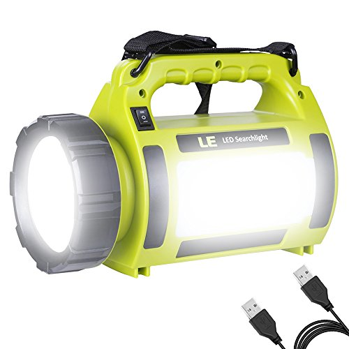 LE 10W Rechargeable CREE T6 LED Spotlight, Portable, Dimmable, 650lm, 3 Modes, 2 Brightness Levels, SOS, Power Banks, with LED Area Light, USB Cable Included, Waterproof IPX4, LED Searchlight, Camping Lights, High Power Beam Flashlight Torch