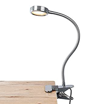 LEPOWER Clip on Light / Reading Light/ Light Color Changeable/ Night Light Clip on for Desk, Bed Headboard and Computers (Silver)
