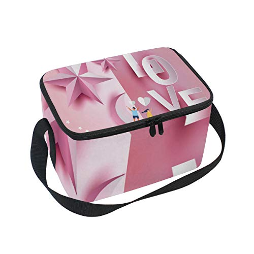 Lunch Bag Love Invitation Card Valentine's Day With Text And Young Joyful Clouds Paper Cut Pink Heart Womens Insulated Shoulder Tote Zipper Kids Lunch Box