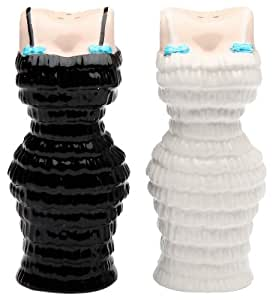 Appletree Design Black and White Cuties Dress Salt and Pepper Set, 3-1/2-Inch