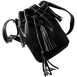 JD Million shop Women bag Tassel bucket bag pu leather patchwork women shoulder bag messenger bag women handbag