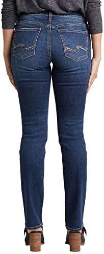 Silver Jeans Co. Women's Avery Straight, Classic Dark Indigo Wash, 28W x 34L