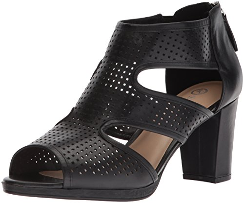 Bella Vita Women's Leslie Heeled Sandal, Black Leather, 6 2W US