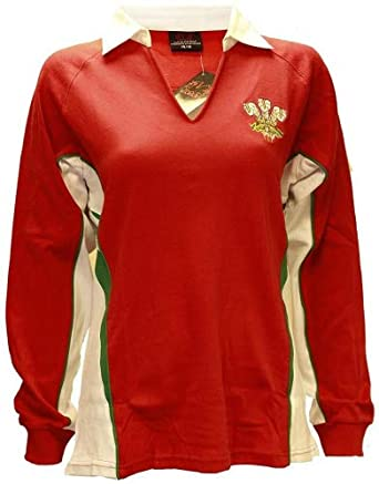 5b57833829a LADIES WOMENS WELSH CYMRU RUGBY LONG SLEEVE CLASSIC RUGBY V COLLAR COTTON T- SHIRT TOP: Amazon.co.uk: Clothing