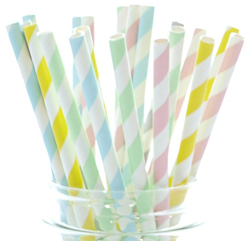 Pastel Straws, Easter Striped Straws, Spring Tall Drinking S