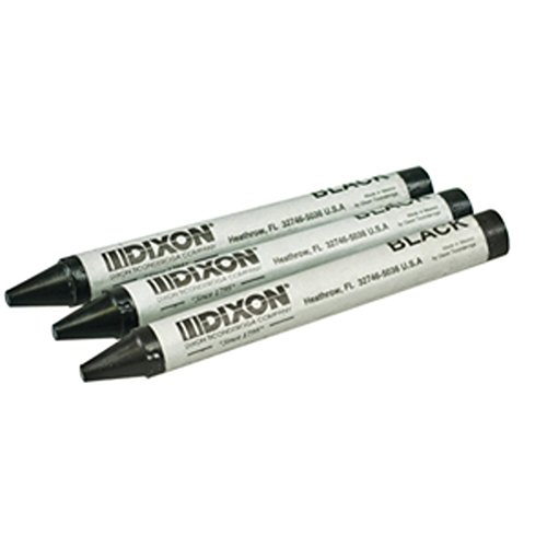 Dixon Round American Marking Crayons, Black, Pack of 12 (05005) -