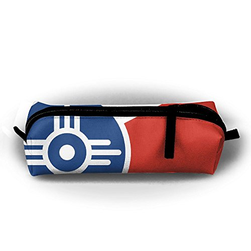 Flag Of Wichita Kansas Pencil Bag For Kid Boys Children Teens Pen Holder Cosmetic Makeup Bag Women Durable Stationery Pouch - In Shopping Kansas Wichita