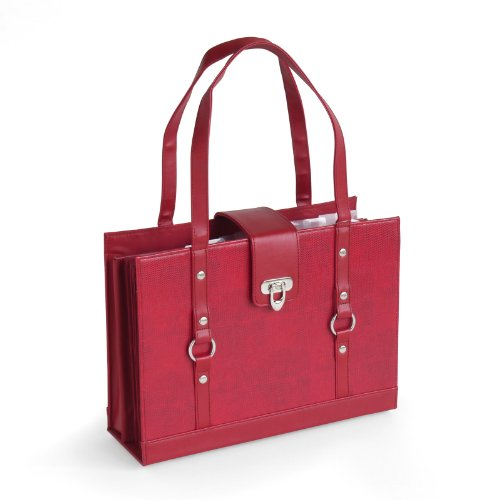 Texture Faux Leather File Organizer Tote - Burgundy Red Color
