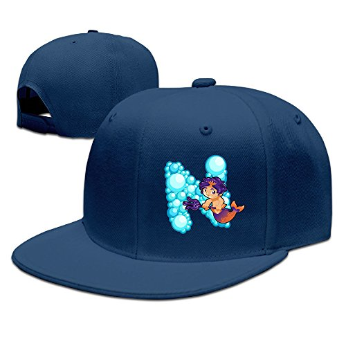 ZOENA Ocean Mermaid Alphabet N Cotton Hats Trucker Snapback Cap For Outdoor Sports Navy (Le Creuset Ocean Sale)