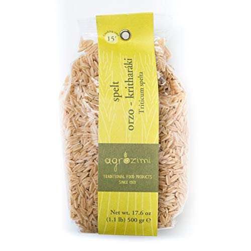 Agrozimi - Spelt Orzo (Kritharáki) - Artisanal Greek Pasta made with Spelt (Triticum Spelta) - Bronze Drawn & Air Dried - 500g/17.6 oz (Pasta Dried)