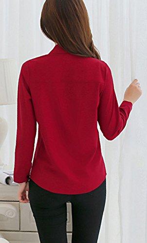 Fr Longues Femmes Casual Chemisiers ulein Manches Hauts Vin Automne Rouge Fox Tee Revers Printemps et Slim Chemises Tops Blouses Mode qAAxr4nw