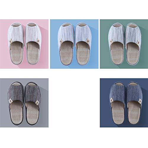 Pink Da Soletta In Tingting Gray Facile colore Stile Ciabatte Dimensioni 39 Pantofole Antiscivolo Country Staccabile Lavare Pattini Open 38 Scarpe Toe Lino Coppia UWWPwOqv8