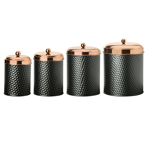 Amici Home, 7CDI030AS4R, Ashby Collection Hammered Finish Black Matte Metal Storage Canister, Push Top Copper Tone Lids, Food Safe, Assorted Set of 4 (Small, Medium, Large and Extra Large)