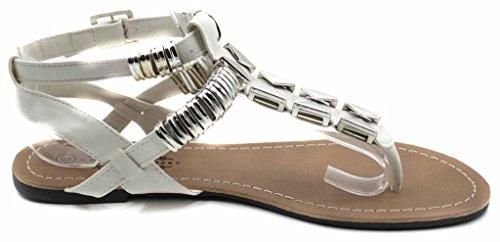 Charles Albert Vrouwen Strappy T-strap Metalen Hardware Gesp Gladiator Sandaal (enkel Hoogte) Wit