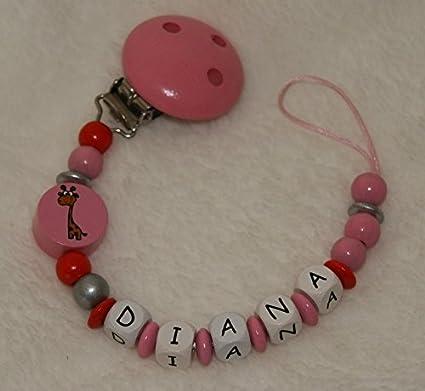 Dientes paño chupete Cadena Color Rosa Con nombres: Amazon ...