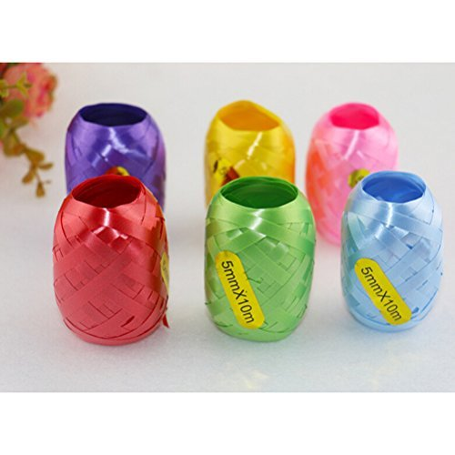 Tinksky Pack of 6 Balloon Ribbon Fastener Gift String Package Gift Wrap Ribbon for Wedding Valentine's Day gift DIY (Mixed Color)