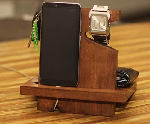 Summer Deals on Crafkart Wooden Right Handed Phone Docking Station with Key Holder, Pen Holder, Wallet and Watch Organizer - Perfect Men's Gift ()