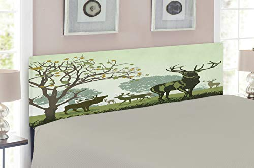 Ambesonne Antlers Headboard for Full Size Bed, Deer and Wildlife in Park World Natural Heritage Forest Areas Reindeer Nature Scene, Upholstered Metal Headboard for Bedroom Decor, Green ()